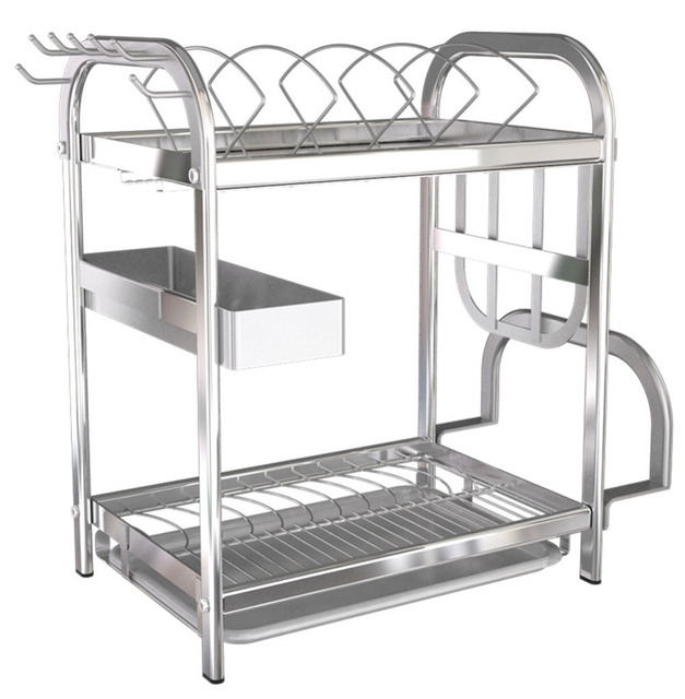 Kitchen Racks Table Lights 2 Tier 304 Stainless Steel Dish Drainer Rack Cutlery Holder Glasses Cups Bowls Plates