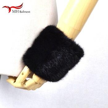 Nouveau importé vison fourrure bracelet gants vison tissé manchettes gants ensemble haute élasticité manchettes mode manches gantelet manches