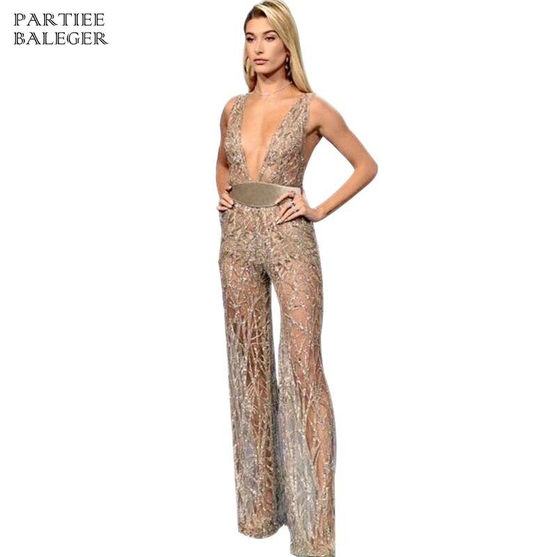 Nouvelle Cut Sexy V 2019 Party De Cou Manches Sans Or Dentelle Profonde Mode Wear Arrivée Salopette Femmes Celebrity Boot gYpYdq