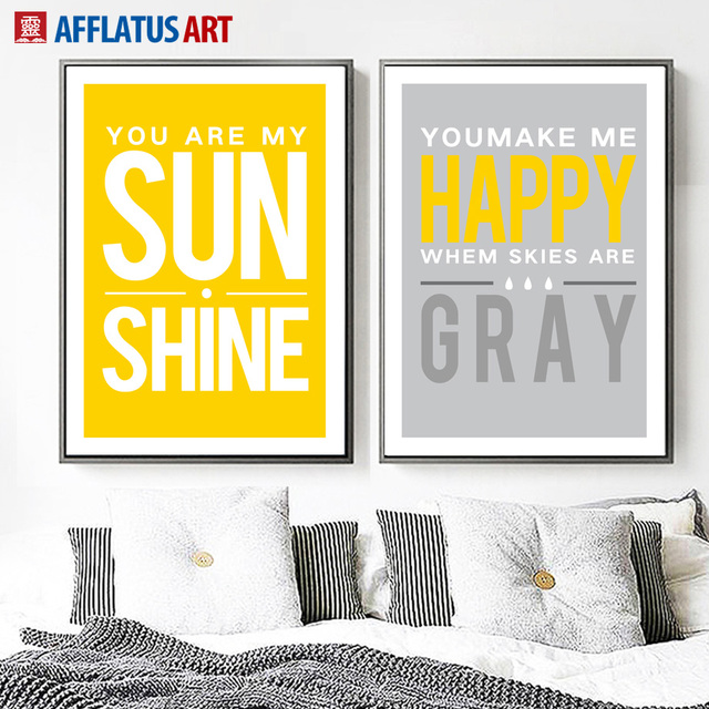 AFFLATUS Sun Shine Happy Quotes Canvas Painting Modern Minimalist ...