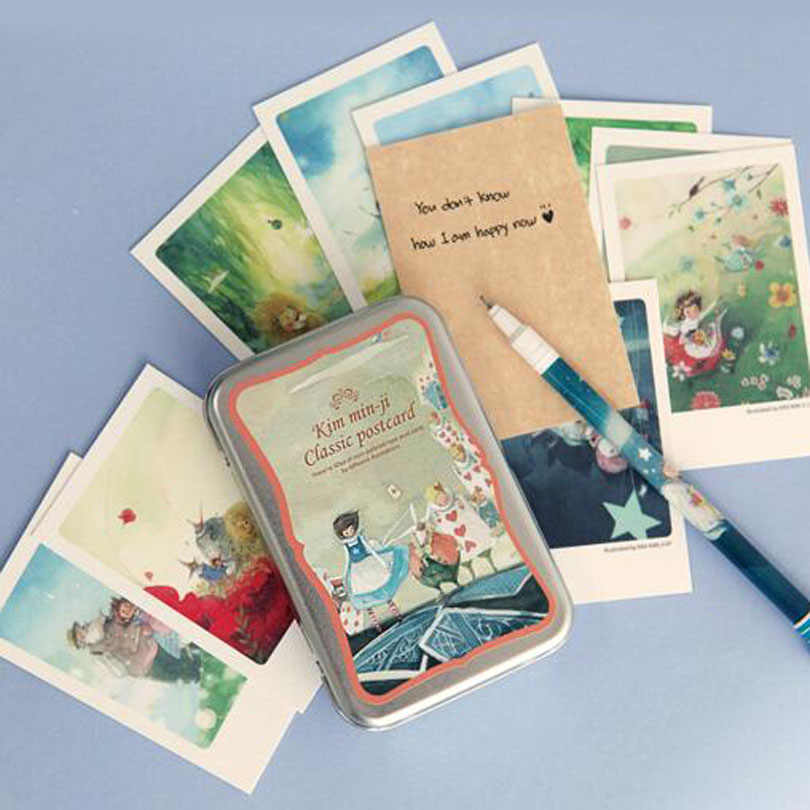 40pcs/lot Alice tin Box greeting cards set Mini retro postcards European Classical style Cards & Invitations H011