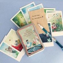 40pcs/lot Alice tin Box greeting cards set Mini retro postcards European Classical style Cards & Invitations H011