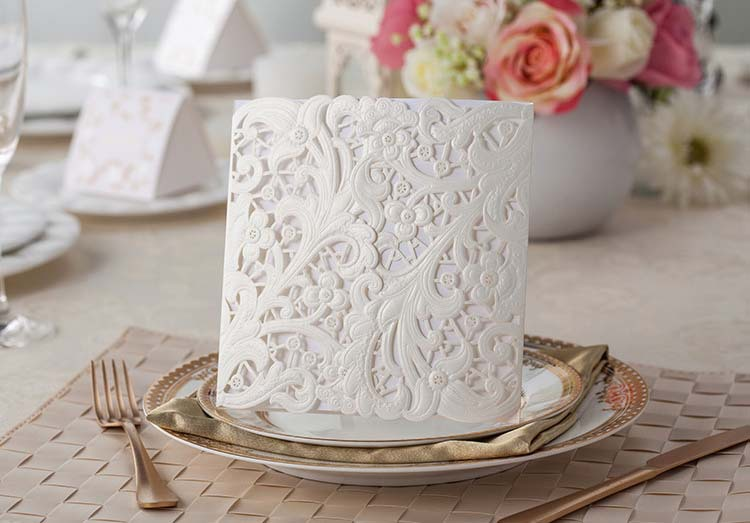 2017 White Laser Cut Wedding Invitation Cards Blank Inner Page Party Invitations Convites De Casamento Free Envelope Seal In From Home