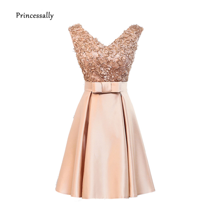 Us 31 5 10 Off New Short Gold Bridesmaid Dresses Mixed Styles Lace V Neck Satin A Line Elegant Cheap Prom Party Gown Special Occasion Dresses In