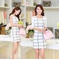 Nueva moda elegante blanco mujeres telas escocesas y cheques OL partido delgado basa el vestido de dama vestido tubo SA651