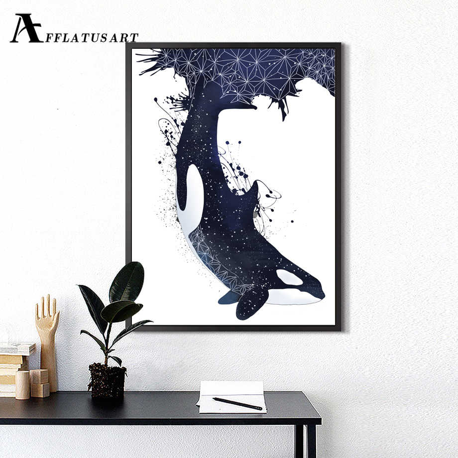 Abstract Whale Wall Art Canvas Painting Posters And Prints Nordic Poster Watercolor Animals Wall Pictures For Living Room Decor