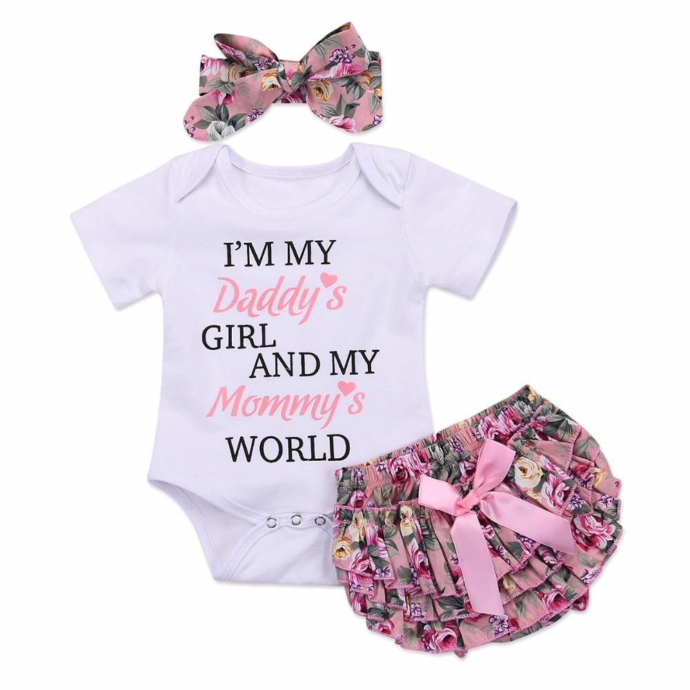Puseky 2 Teile/satz Baby Daddy Mädchen Mama Welt Kurzarm Romper Top + Floral Rüschen Schicht Strampler Kleid + Bowknot Stirnband Kleidung