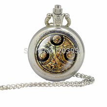 Doctor Who silver mens Pocket Watch 1pcs/lot Necklaces Dr Who masters fob pendant Timelord Seal Locket steampunk fashion jewelry