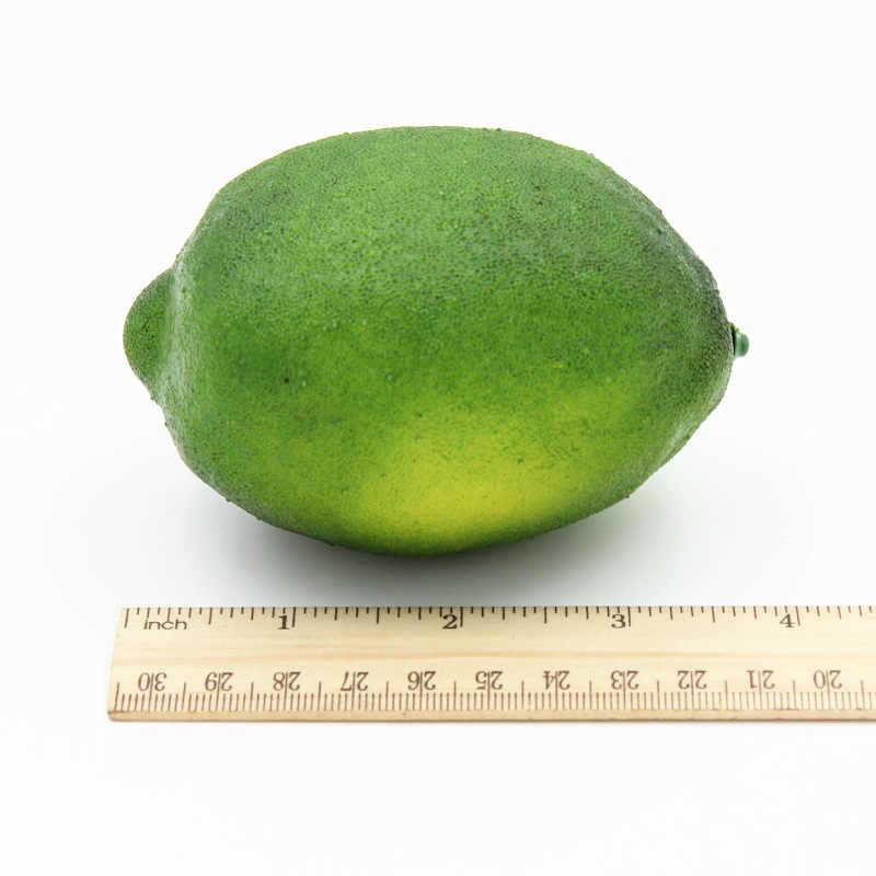 2 Pcs 9.5 Cm Buatan Simulasi Buah Lemon TK Keluarga Taman Dapur Dekorasi Buatan Tangan DIY Buah Hijau dan Kuning
