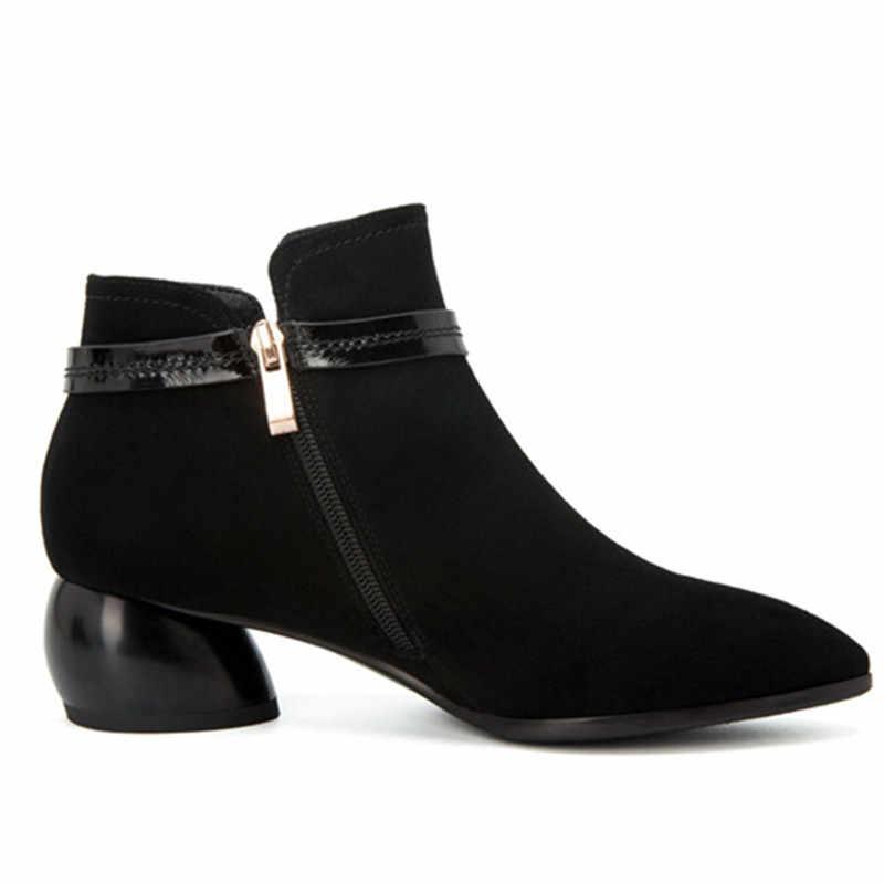 MORAZORA 2020 pełna krowa skórzane botki dla kobiet zamszowe ozdoby metalowe jesienne buty szpiczasty nosek czarne buty damskie