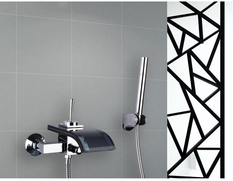Wall mounted waterfall shower faucet glass set, Bathroom handheld shower head faucet mixer, Copper bathtub faucet shower chrome