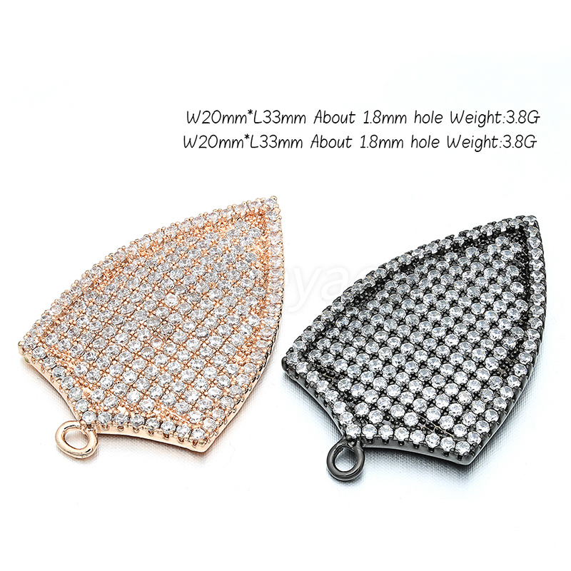 New Fashion Brass Zircon Shield Pendant Accessories Connector DIY Women Necklace Earrings Pendant Accessories Jewelry Accesorios in Jewelry Findings Components from Jewelry Accessories