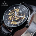 2016 Top SEWOR Leather Strap Skeleton Men Clock Black Steel Male Business Mechanical Automatic Fashion Military Wrist Watch Best