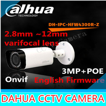 2015 Dahua IPC-HFW4300R-Z 2.8 mm ~ 12 mm varifocal lente motorizado network camera 3MP IR cámara ip POE cctv cámara