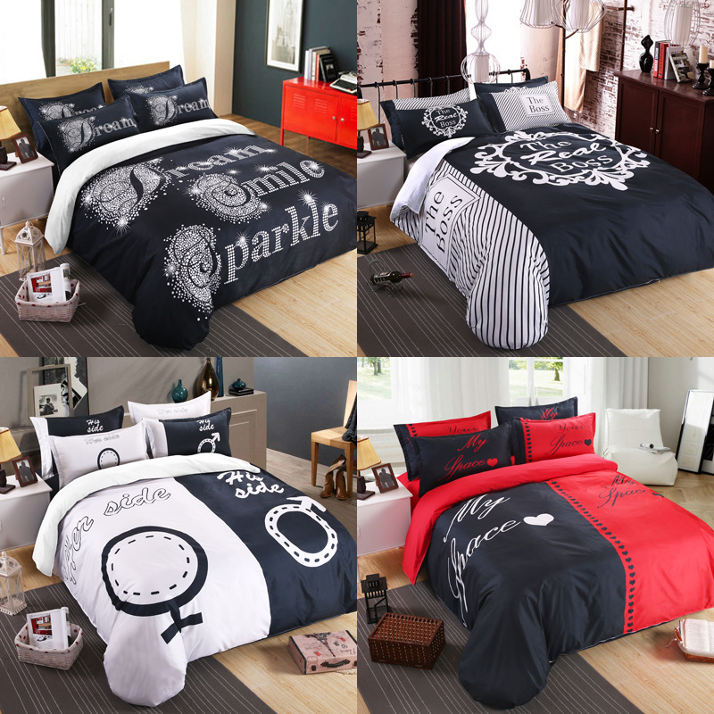 Amerian 3D Black&white Her Side His Side Bedding Sets Queen/King Size Double bed Couples 3pcs/4pcs Lovers Duvet Cover Set