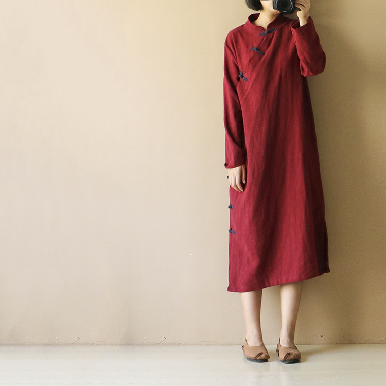 Spring New Women's Large Size Cotton Linen Dress Literary Plate Button Cheongsam Loose