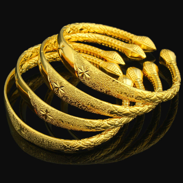 Newest Women Dubai Bangle 24K Gold Color Bracelet Bangle