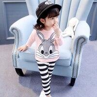 1 2 3 4 5 6 Year Children Clothing Cartoon Rabbit Shirts Striped Legging Kids Suits