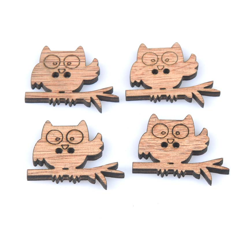30PCS New Owl Pattern Natural Wooden Scrapbooking Craft Round Random For Home Decoration 28x35mm MT1615