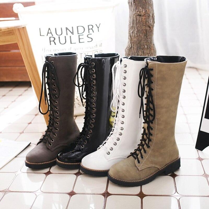 c512338234e724 Wastyx new Lace Up Vintage Classique Style Sabot Talon Mi veau Bottes 2017 Femmes  de Mode Confortable Noir Plus La Taille Chaussures 34 43 dans Bottes ...
