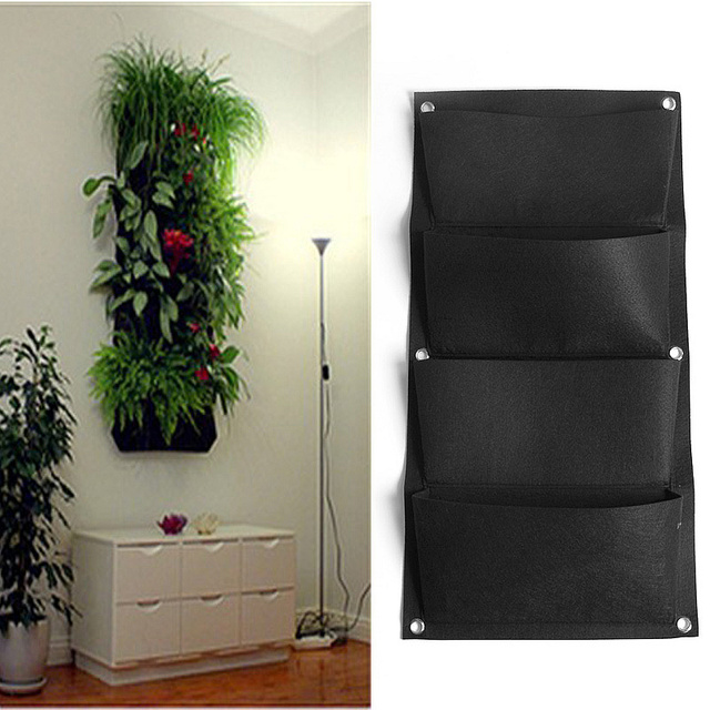 4 Pockets Black Hanging Vertical Wall Garden Planter ...