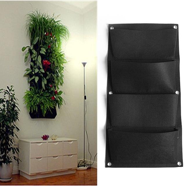 4 Pockets Black Hanging Vertical Wall Garden Planter ...