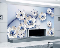 Beibehang 3D Wallpaper Blue Lotus Villa Large Wall Wallpaper Modern Painting 3d Living Room Bedroom Background