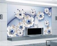 Beibehang 3D Wallpaper Blue Lotus Villa Large Wall Wallpaper Modern Painting 3d Living Room Bedroom Background