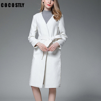 winter cashmere wool coat women white belted casual loose cashmere lady long thick coat outwear manteau femme