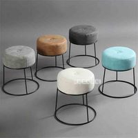 JD012 Modern Minimalist Round Stool Portable Stackable Metal and Leather Soft Cover Low Stool Living Room Soft Upholstered Stool