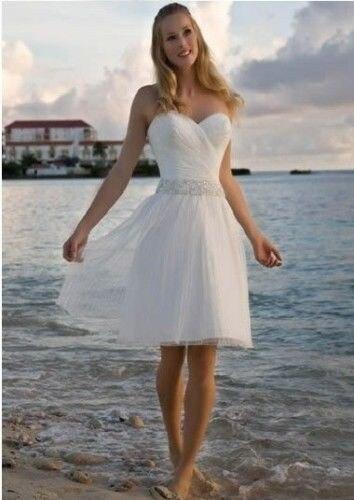 Женщины Платье Невесты Милая Pleat Бисера Белый Тюль Короткие Пляж Свадебное Платье На Заказ Размер