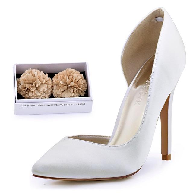 Zapatos de la mujer de Marfil Tacones Altos Señalaron Toe de Raso de Novia Damas de Honor de La Boda Vestido de Noche Nupcial Prom Bombas HC1601 Teal Azul Marino