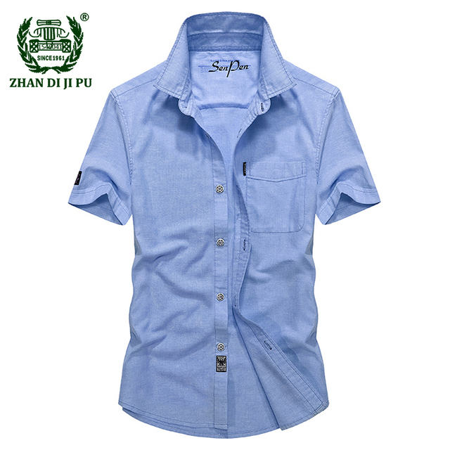 af4ff9450f1 2018 Men s summer business casual brand sky blue short sleeve shirt man afs  jeep oxford cotton dark blue shirts male pink tops