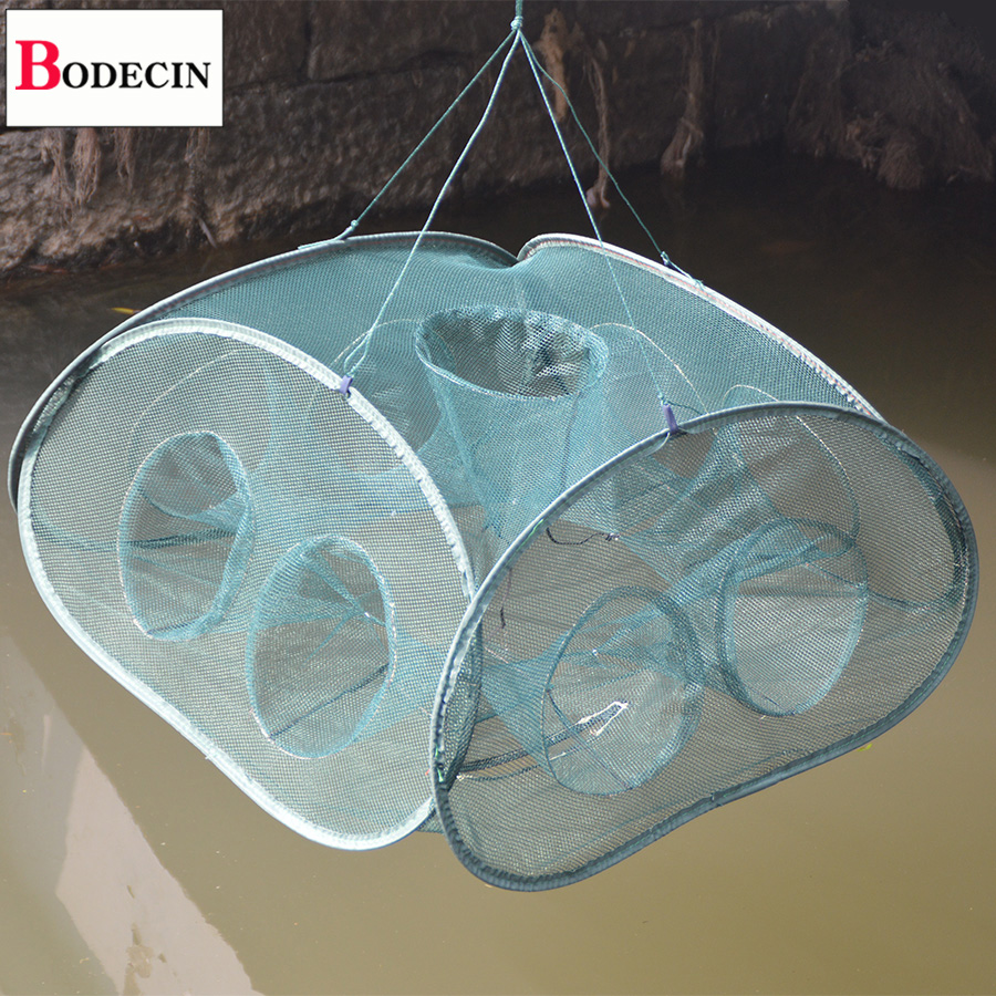 Sale 9 Inlets All Fishing Net Folded For Fish Shrimp Cages Network Crayfish Fish Crab Trap Catcher Casting Mesh Nets Tank China