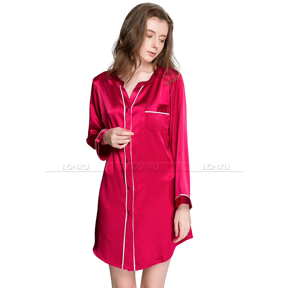 Women Silk Satin Pajamas Nightshirt   Sleepshirt