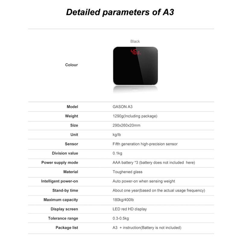 Gason A3 Schwarz 180 kg elektronische digital gewicht wiegen ...
