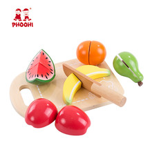 Baby Wooden Cutting Fruit Toy Children Pretend Kitchen Food Play Game Toy For Kids PHOOHI