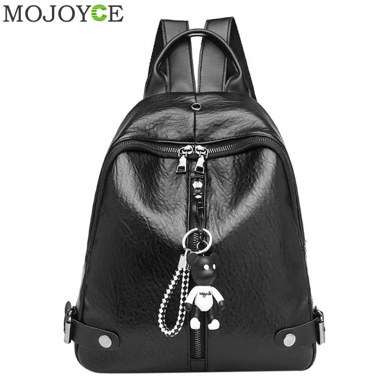 Vintage Women Oil PU Leather Backpack Fashion School Bags for Teenager Girls Shoulder Bag Casual Travel Backpacks Female Daypack annmouler women fashion backpack pu leather shoulder bag 7 colors casual daypack high quality solid color school bag for girls