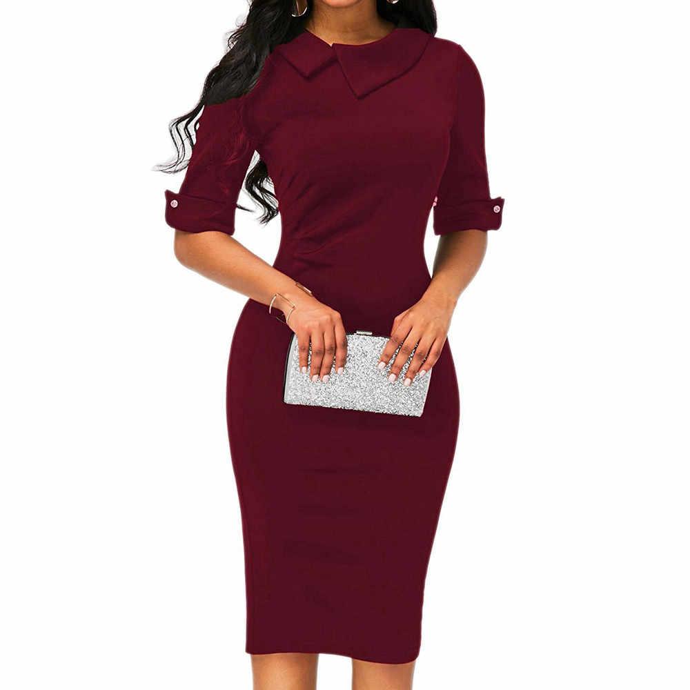 02555b9b9a8 Женский карандаш работы платья дамы Для женщин ретро Bodycon ниже колена  официальная деловая модельная одежда с