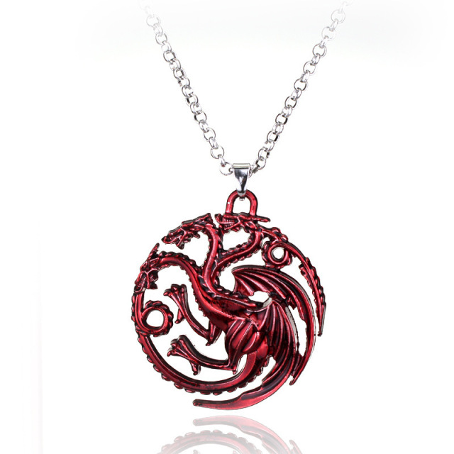 necklace pin dragon red by flashinfashinjewelry