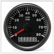 Tachometer car 85 mm Round Pointer Display 8000 RPM Gauge fit Auto Vessel Car and Hour meter 12V 24V With Back light цена в Москве и Питере