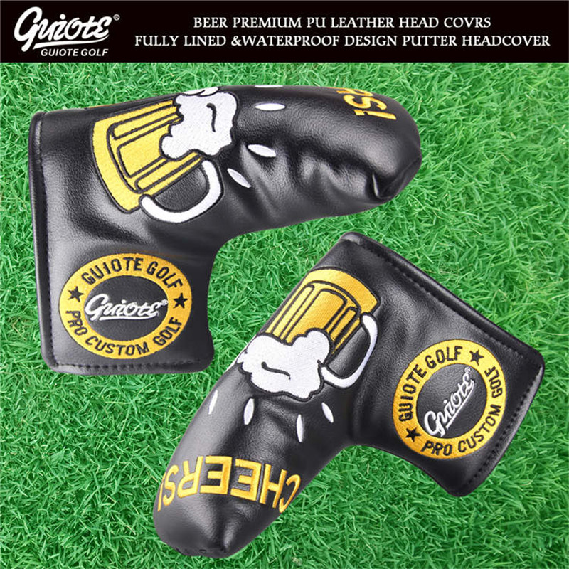 Cheers!! Beer Golf Blade Putter Head Cover Synthetic Leather Golf Covers Sport Golf Accessories Mascot Novelty Gift