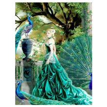 DIY diamond painting peacock princess dimaond embroidery full fairy mosaic beauty with green dress and