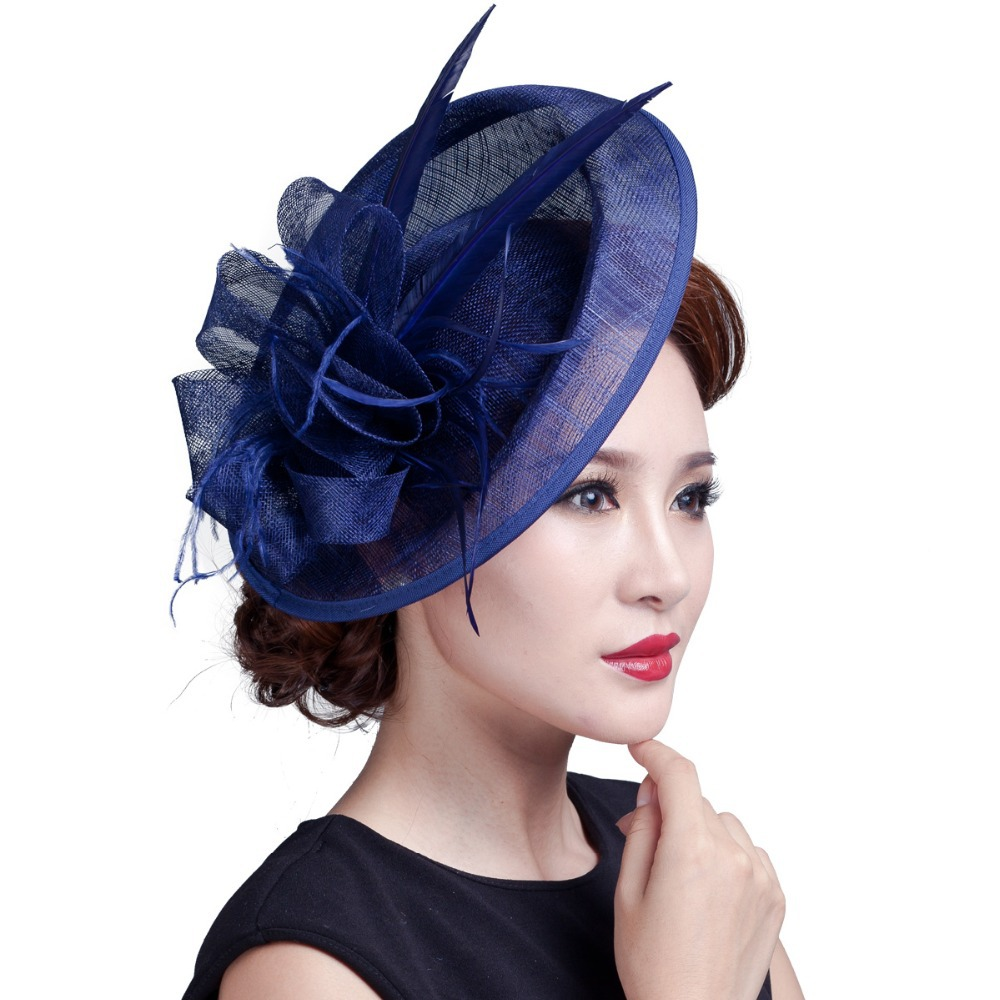 Ladies large ivory feather sinamay hats women hair accessories fancy fascinators for wedding
