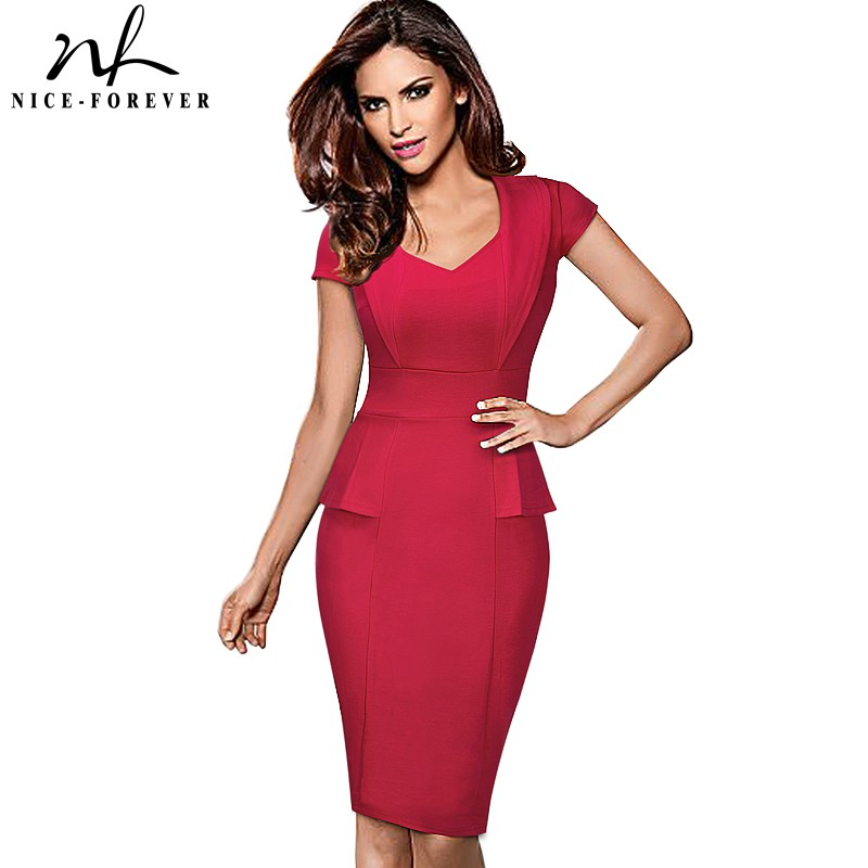 Nice-forever Vintage Casual Office Dress Sweet heart Neck Women Formal Business  Short Sleeve Bodycon 804cc08b3a76