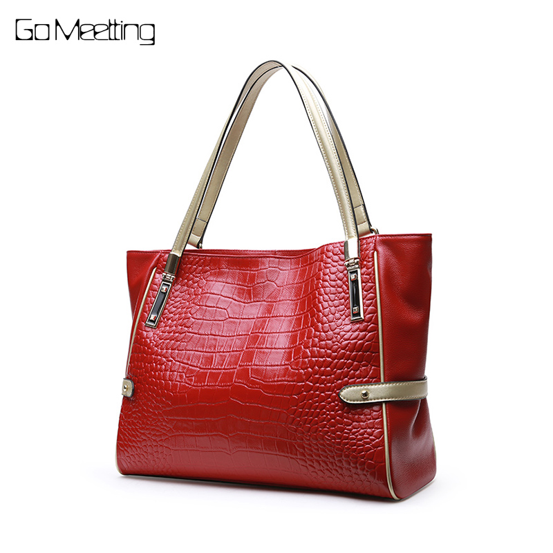 Go Meetting Women Bags Large Size Female Casual Tote Bag Solid Genuine Leather Handbag Shoulder Bag Famous Brand Bolsa Feminina famous brand women floral printing handbag genuine leather fashion shoulder bag vintage female tote bags large bolsa feminina