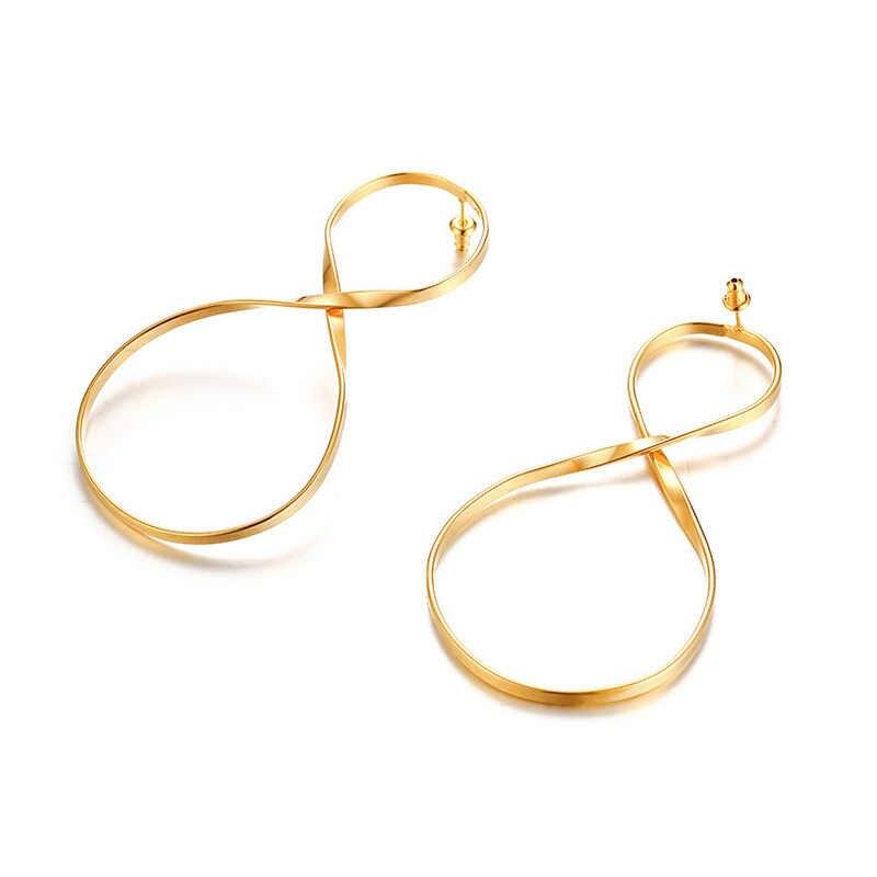 Vnox רוק גדול אינפיניטי עגילים לנשים זהב טון נירוסטה ארוך להתנדנד עגיל Femme brinco