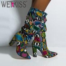 WETKISS/красочная змея; кожаные ботинки; женские ботинки на Высоком толстом каблуке; обувь из змеиной кожи с острым носком на молнии; женские ботинки со складками; сезон зима