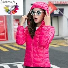 Casual Ultralight Hooded Down Jackets 90% Down Feather Warm Zip Women Hoodies Winter Autumn  Jacket Women Cotton Parkas