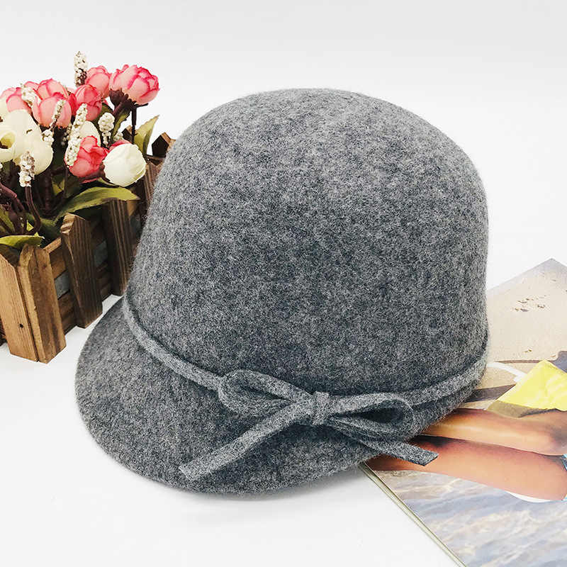 Cokk Wol Fedora Topi Musim Gugur Musim Dingin Topi untuk Wanita Wanita Simpul Busur Topi Wanita Vintage Topi Bulat Chapeau Femme hitam Inggris
